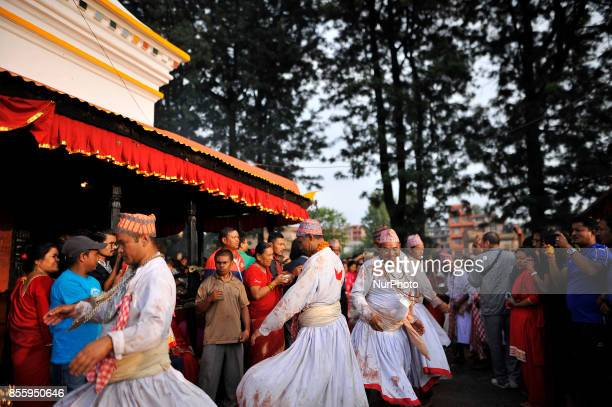 Nepali Hindu priests perform a ritual dance during the tenth day of Dashain Durga Puja Festival in Bramayani Temple Bhaktapur Nepal on September 30...