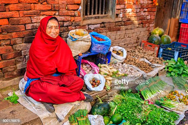 Nepali vegetables seller in Bhaktapur, near Durbar Square, Nepal