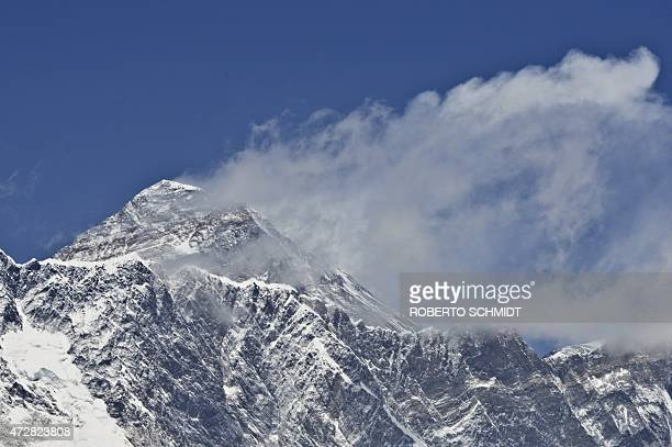 NepalquakeEveresttourismmountaineeringFOCUS by Ammu Kannampilly This photograph taken on April 20 2015 shows a view of Mount Everest towering over...