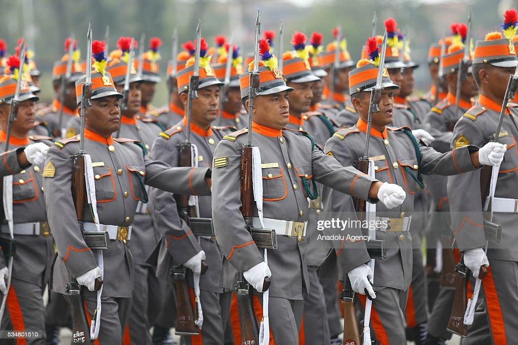 Nepal's Armed police forces march during the 9th Republic Day parade in Kathmandu, Nepal on May 28, 2016.
