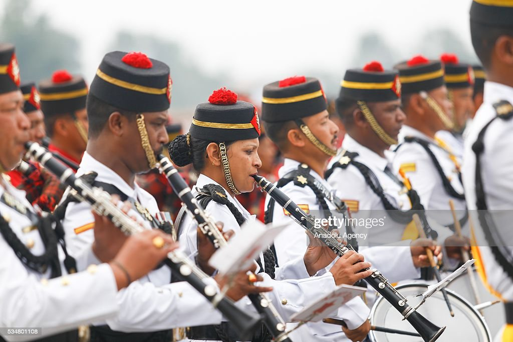 Nepals army soldiers march during the 9th Republic Day parade in Kathmandu, Nepal on May 28, 2016.