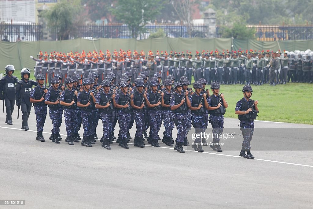 Nepal's police officers march during the 9th Republic Day parade in Kathmandu, Nepal on May 28, 2016.