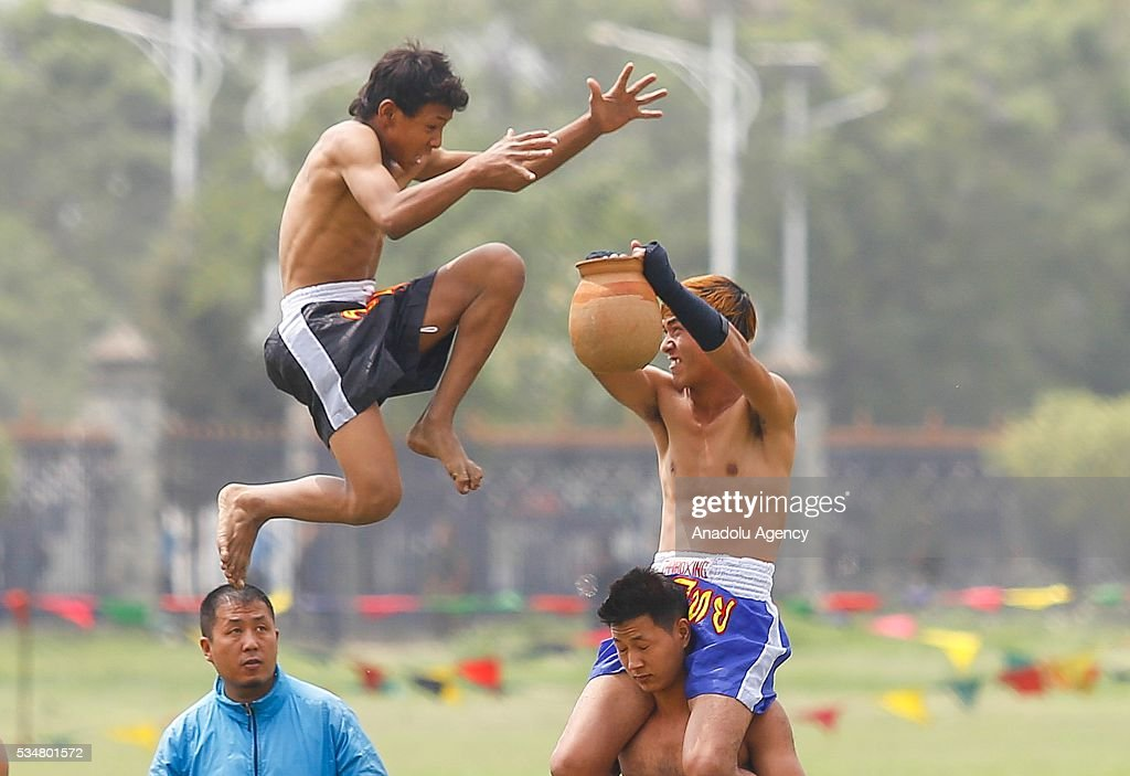 Nepals sportsmen perform their skills during the 9th Republic Day parade in Kathmandu, Nepal on May 28, 2016.