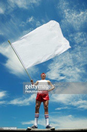 Nerd Athlete Waves Blank White Flag Blue Sky
