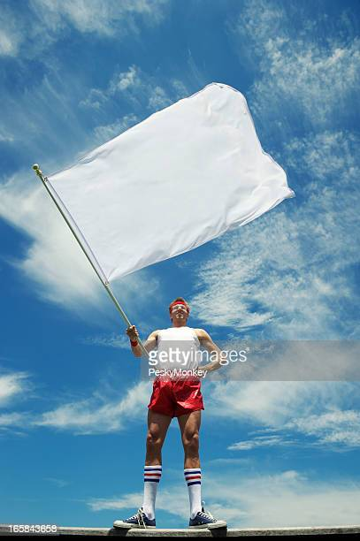 Nerd Athlete Waves Blank White Flag Blue Sky