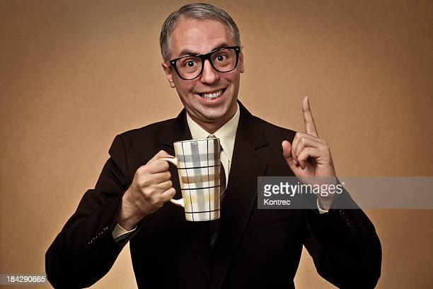 Nerd Homme d'affaires boire du café