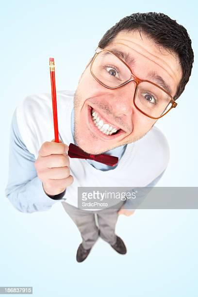 Nerd Homme d'affaires avec tête tenant le stylo Grand