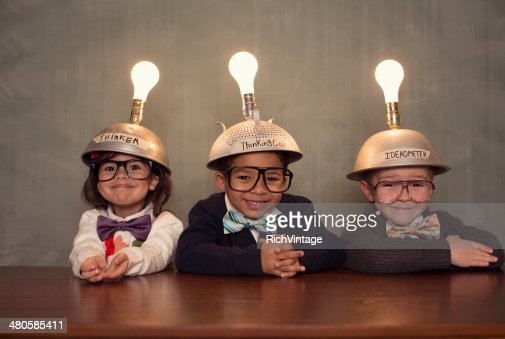 Nerd Children Wearing Lighted Mind Reading Helmets