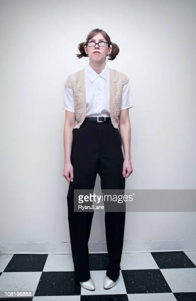 Nerd Girl Standing on Checkered Floor And White Background