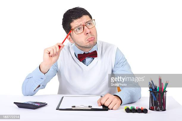 Nerd office worker making funny face at his office