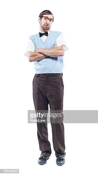 Nerd Student with Smug Look Isolated on White