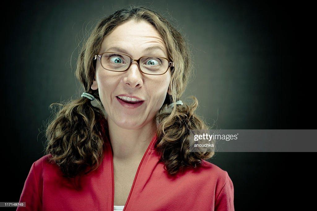 Nerd Woman portrait : Stock Photo