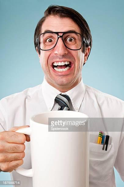 Nerdy Office Worker Drinking Coffee
