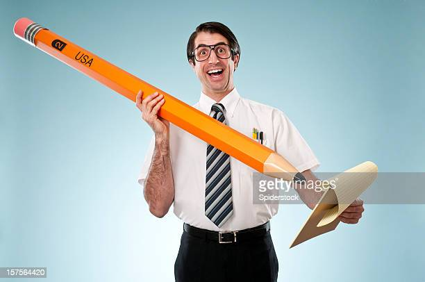 Nerdy Office Worker With Giant Pencil