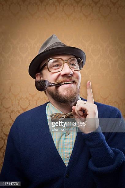 Pourtant d'homme barbu avec pipe qui avoir une bonne idée