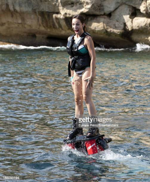 Nerea Garmendia is seen doing flyboarding on October 21 2013 in Ibiza Spain