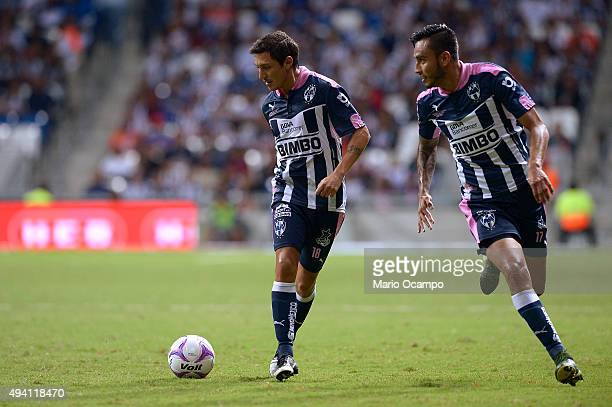 Neri Cardozo and Jesus Zavala of Monterrey in action during the 14th round match between Monterrey and Tijuana as part of the Apertura 2015 Liga MX...