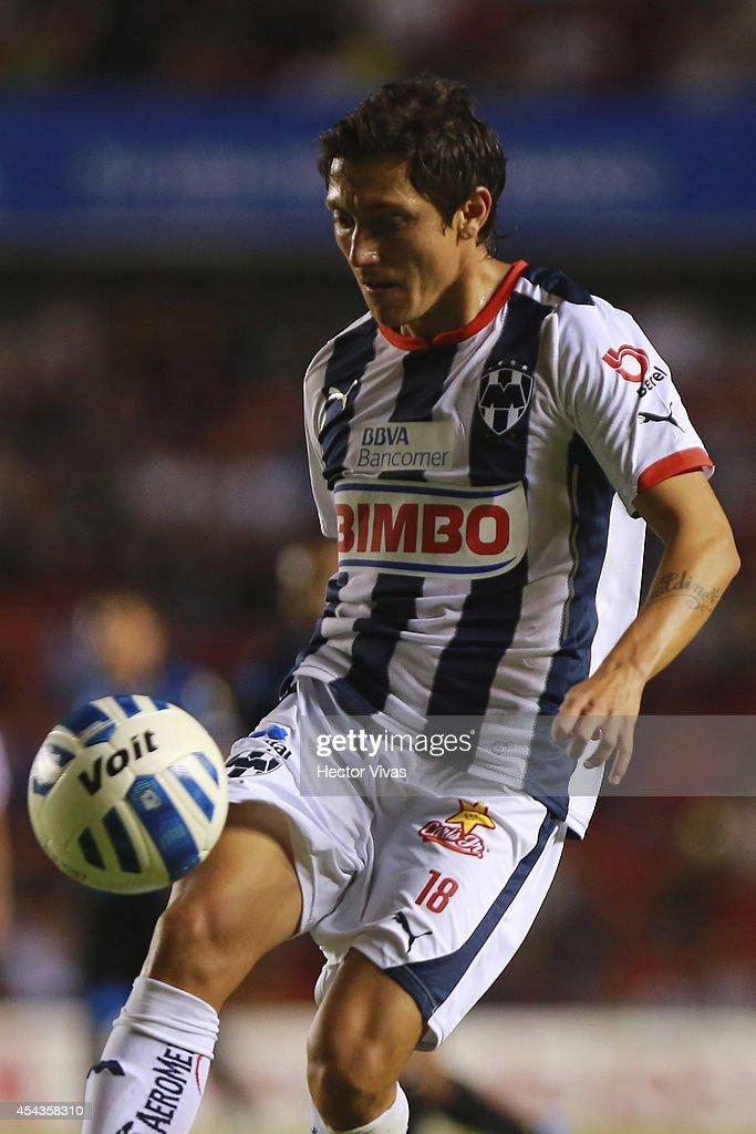 Neri Cardozo of Monterrey controls the ball during a match between Queretaro and Monterrey as part of 7th round Apertura 2014 Liga MX at Corregidora Stadium on August 29, 2014 in Queretaro, Mexico.