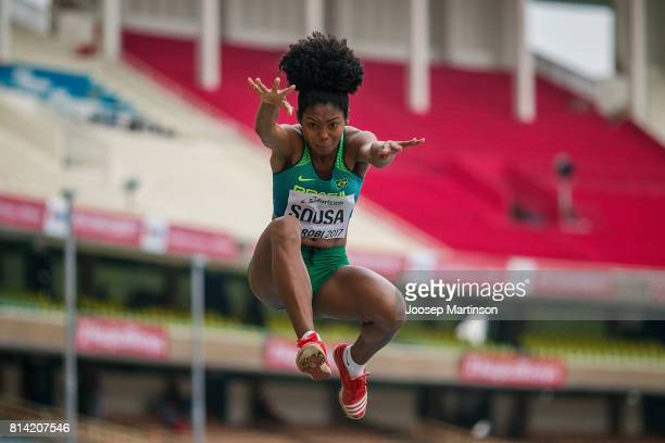 Nerisnelia Sousa of Brazil competes in the girls triple jump qualification during day 3 of the IAAF U18 World Championships at Moi International...