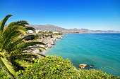 Nerja beach, famous touristic town in costa del sol, Málaga, Andalusia, Spain.