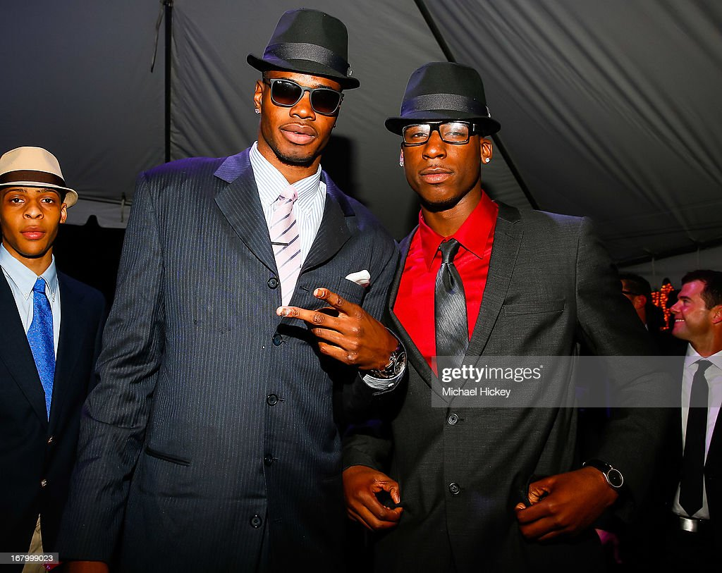 <a gi-track='captionPersonalityLinkClicked' href=/galleries/search?phrase=Nerlens+Noel&family=editorial&specificpeople=7880842 ng-click='$event.stopPropagation()'>Nerlens Noel</a> (L) and guest seen at the New Era Cap tent at The Barnstable Brown Gala on May 3, 2013 in Louisville, Kentucky.