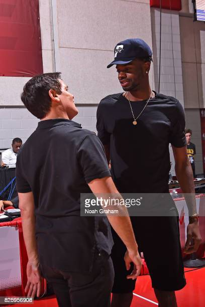 Nerlens Noel and Owner of the Dallas Mavericks Mark Cuban attend the 2017 Las Vegas Summer League game against the Miami Heat on July 11 2017 at Cox...