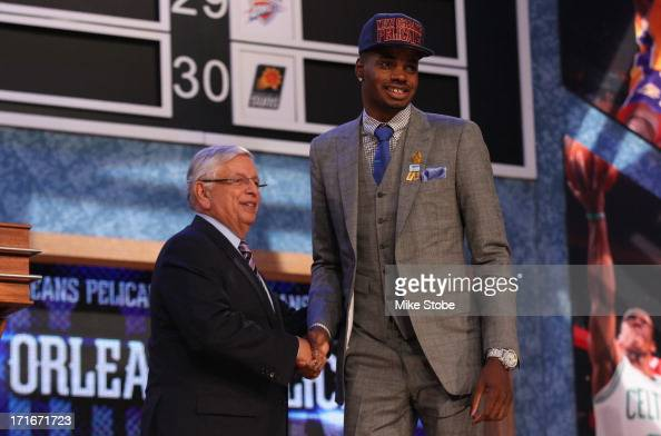 Nerlens Noel of Kentucky poses for a photo with NBA Commissioner David Stern after Zeller was drafted overall in the first round by the New Orleans...