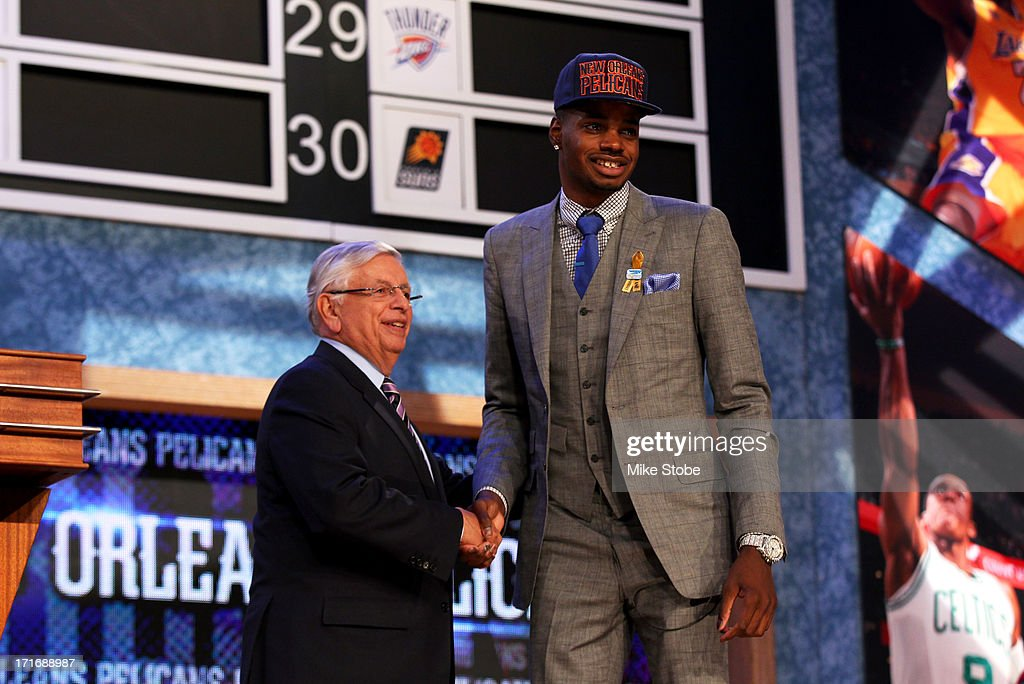 Nerlens Noel (R) of Kentucky poses for a photo with NBA Commissioner David Stern after Zeller was drafted #6 overall in the first round by the New Orleans Pelicans during the 2013 NBA Draft at Barclays Center on June 27, 2013 in in the Brooklyn Borough of New York City. The draft rights to Noel were traded to the Philadelphia 76ers.