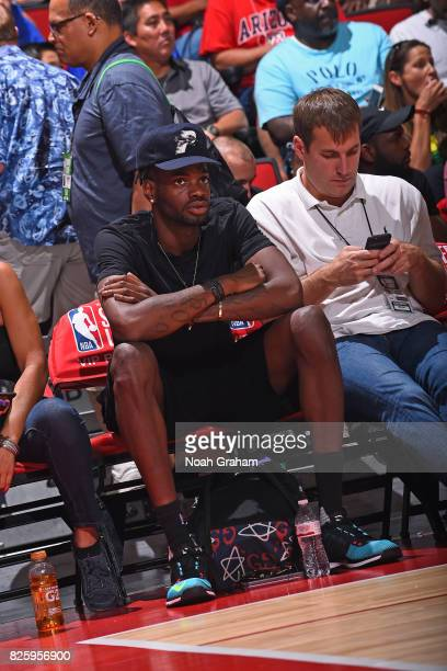 Nerlens Noel of the Dallas Mavericks attends the 2017 Las Vegas Summer League game against the Miami Heat on July 11 2017 at Cox Pavillion in Las...