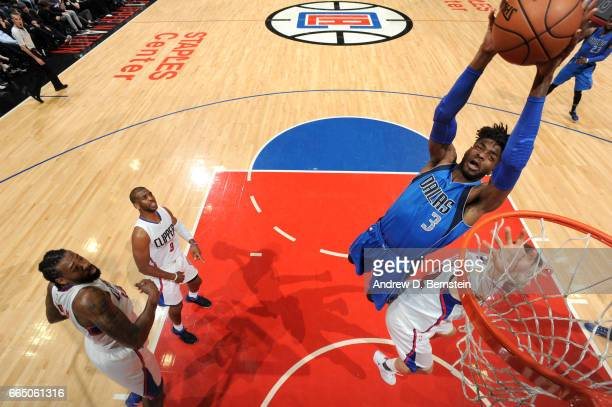 Nerlens Noel of the Dallas Mavericks goes to the basket against the Los Angeles Clippers on April 5 2017 at STAPLES Center in Los Angeles California...