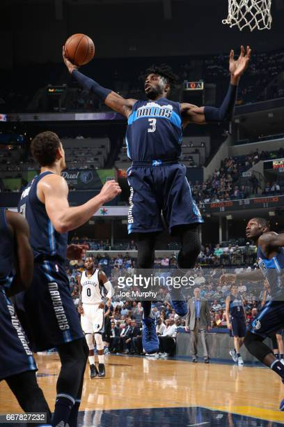 Nerlens Noel of the Dallas Mavericks grabs a rebound against the Memphis Grizzlies on April 12 2017 at FedEx Forum in Memphis Tennessee NOTE TO USER...