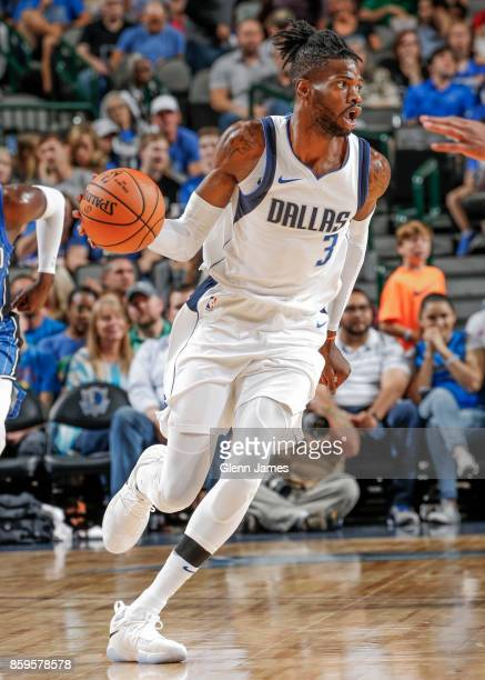 Nerlens Noel of the Dallas Mavericks handles the ball during a preseason game against the Orlando Magic on October 9 2017 at the American Airlines...