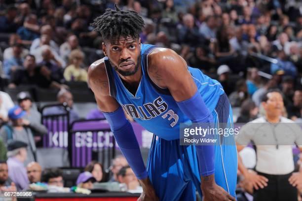 Nerlens Noel of the Dallas Mavericks looks on during the game against the Sacramento Kings on April 4 2017 at Golden 1 Center in Sacramento...