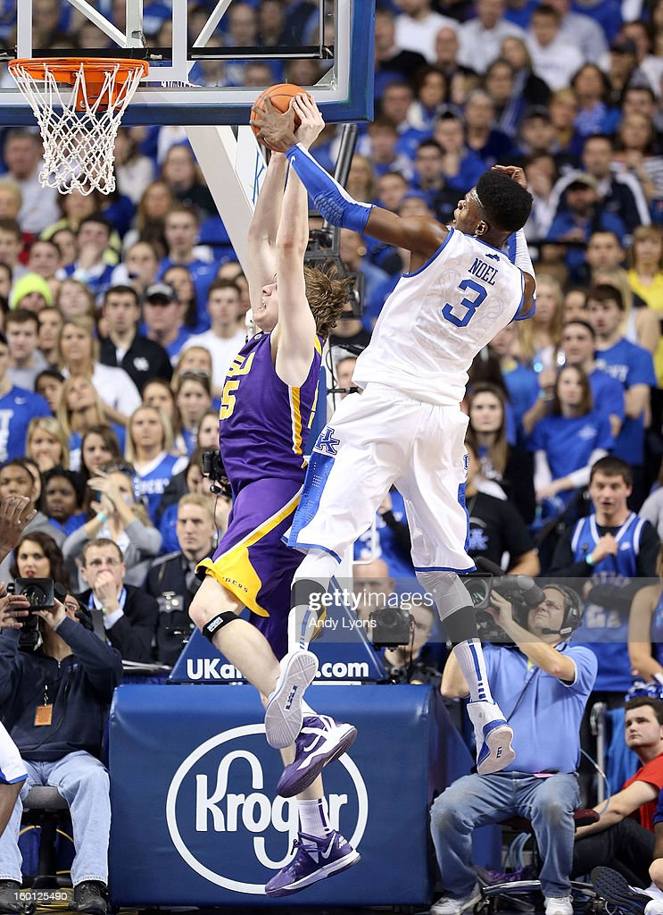 <a gi-track='captionPersonalityLinkClicked' href=/galleries/search?phrase=Nerlens+Noel&family=editorial&specificpeople=7880842 ng-click='$event.stopPropagation()'>Nerlens Noel</a> #3 of the Kentucky Wildcats blocks the shot of Andrew Del Piero #55 of the LSU Tigers at Rupp Arena on January 26, 2013 in Lexington, Kentucky.
