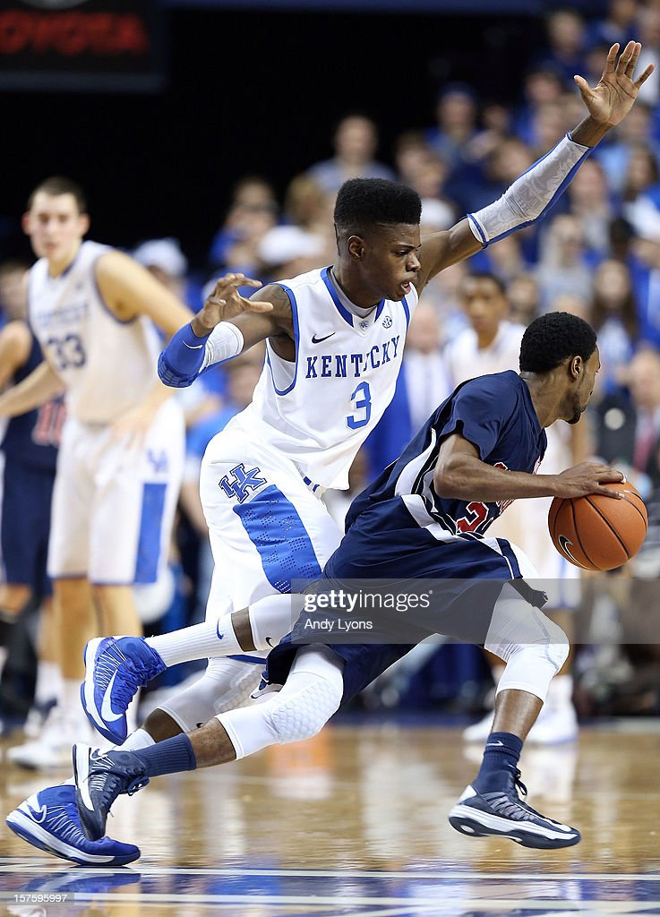 <a gi-track='captionPersonalityLinkClicked' href=/galleries/search?phrase=Nerlens+Noel&family=editorial&specificpeople=7880842 ng-click='$event.stopPropagation()'>Nerlens Noel</a> #3 of the Kentucky Wildcats defends Jaylen Beckham #23 of the Samford Bulldogs during the game at Rupp Arena on December 4, 2012 in Lexington, Kentucky. Kentucky won 88-56.
