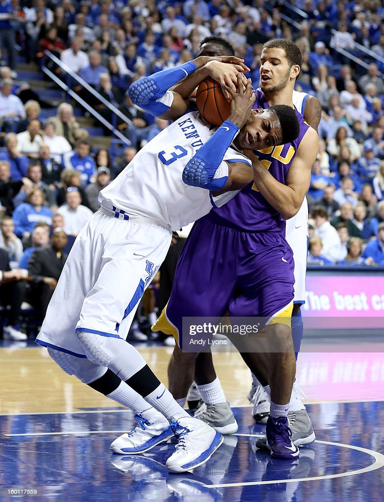 <a gi-track='captionPersonalityLinkClicked' href=/galleries/search?phrase=Nerlens+Noel&family=editorial&specificpeople=7880842 ng-click='$event.stopPropagation()'>Nerlens Noel</a> #3 of the Kentucky Wildcats grabs a rebound during the game against the LSU Tigers at Rupp Arena on January 26, 2013 in Lexington, Kentucky.