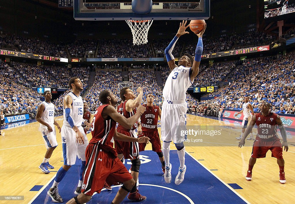 <a gi-track='captionPersonalityLinkClicked' href=/galleries/search?phrase=Nerlens+Noel&family=editorial&specificpeople=7880842 ng-click='$event.stopPropagation()'>Nerlens Noel</a> #3 of the Kentucky Wildcats grabs a rebound during the game against the South Carolina Gamecocks at Rupp Arena on February 5, 2013 in Lexington, Kentucky.