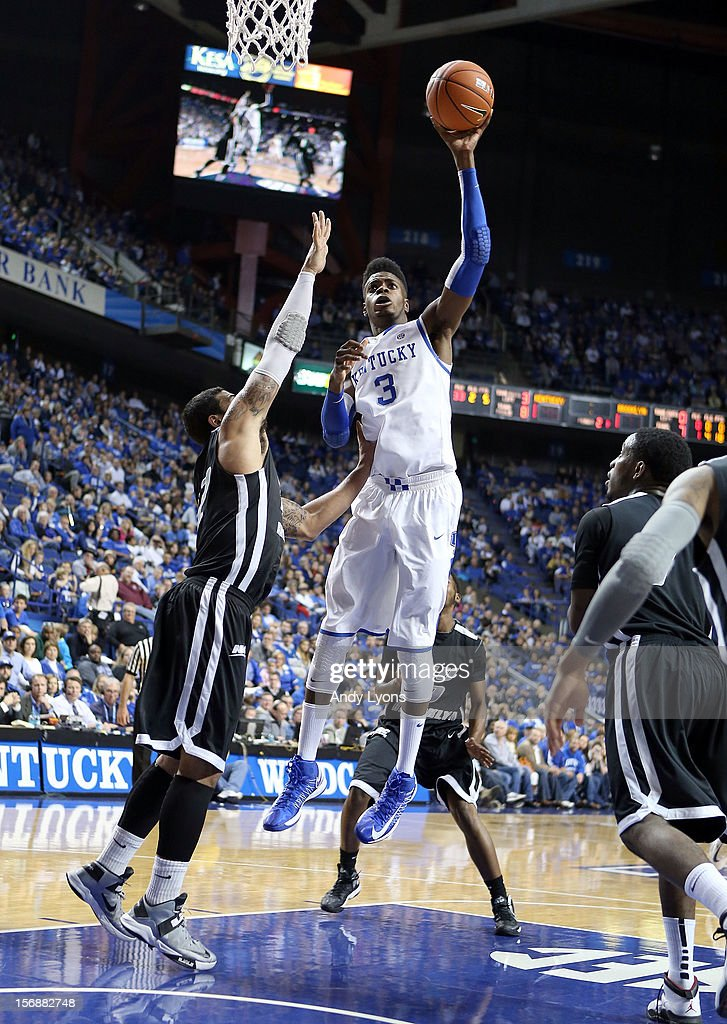 <a gi-track='captionPersonalityLinkClicked' href=/galleries/search?phrase=Nerlens+Noel&family=editorial&specificpeople=7880842 ng-click='$event.stopPropagation()'>Nerlens Noel</a> #3 of the Kentucky Wildcats shoots the ball during the game against the Long Island Blackbirds at Rupp Arena on November 23, 2012 in Lexington, Kentucky.