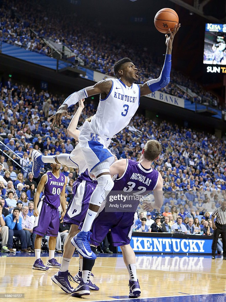 <a gi-track='captionPersonalityLinkClicked' href=/galleries/search?phrase=Nerlens+Noel&family=editorial&specificpeople=7880842 ng-click='$event.stopPropagation()'>Nerlens Noel</a> #3 of the Kentucky Wildcats shoots the ball during the game against the Portland Pilots at Rupp Arena on December 8, 2012 in Lexington, Kentucky.