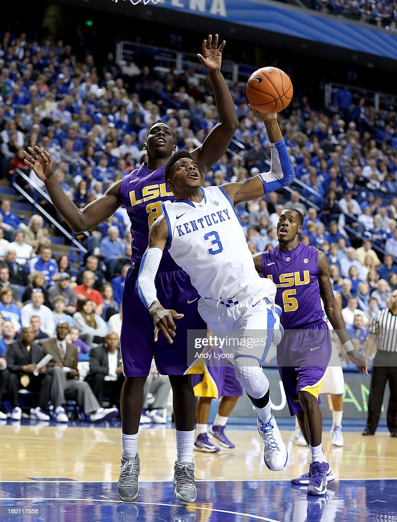 <a gi-track='captionPersonalityLinkClicked' href=/galleries/search?phrase=Nerlens+Noel&family=editorial&specificpeople=7880842 ng-click='$event.stopPropagation()'>Nerlens Noel</a> #3 of the Kentucky Wildcats shoots the ball during the game against the LSU Tigers at Rupp Arena on January 26, 2013 in Lexington, Kentucky.