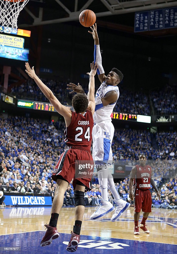 Nerlens Noel #3 of the Kentucky Wildcats shoots the ball during the game against the South Carolina Gamecocks at Rupp Arena on February 5, 2013 in Lexington, Kentucky.