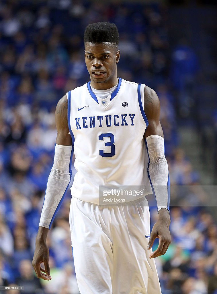 <a gi-track='captionPersonalityLinkClicked' href=/galleries/search?phrase=Nerlens+Noel&family=editorial&specificpeople=7880842 ng-click='$event.stopPropagation()'>Nerlens Noel</a> #3 of the Kentucky Wildcats walks down the court during the game against the South Carolina Gamecocks at Rupp Arena on February 5, 2013 in Lexington, Kentucky.