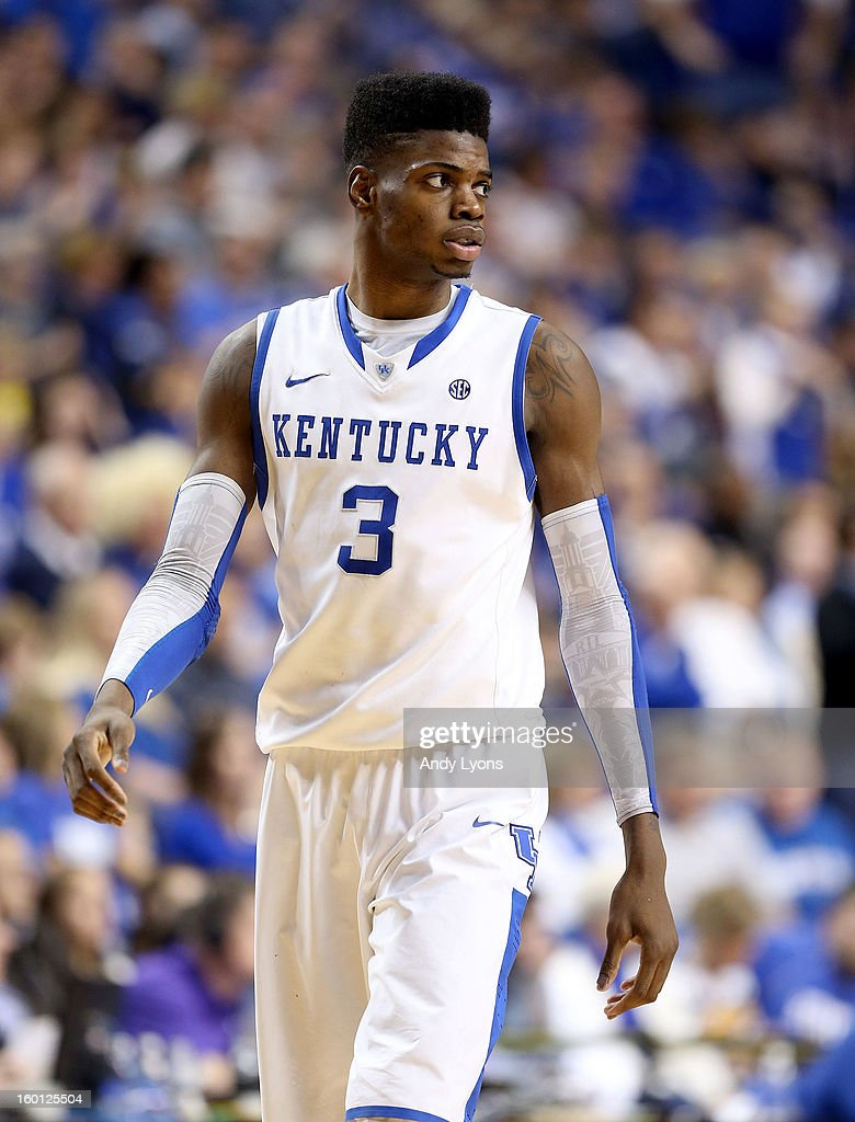 <a gi-track='captionPersonalityLinkClicked' href=/galleries/search?phrase=Nerlens+Noel&family=editorial&specificpeople=7880842 ng-click='$event.stopPropagation()'>Nerlens Noel</a> #3 of the Kentucky Wildcats watches the action during the game against the LSU Tigers at Rupp Arena on January 26, 2013 in Lexington, Kentucky.