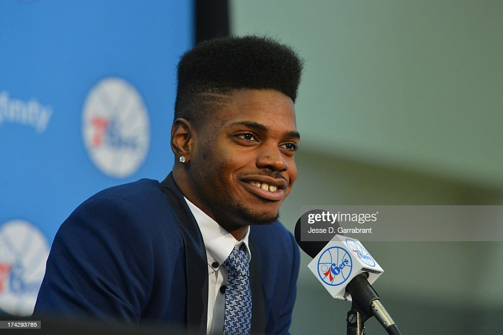 Nerlens Noel of the Philadelphia 76ers addresses the media at the Philadelphia College of Osteopathic Medicine on July 23, 2013 in Philadelphia, Pennsylvania.