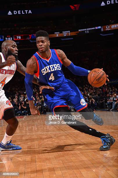 Nerlens Noel of the Philadelphia 76ers drives to the basket against the New York Knicks at Madison Square Garden on April 5 2015 in New York New York...