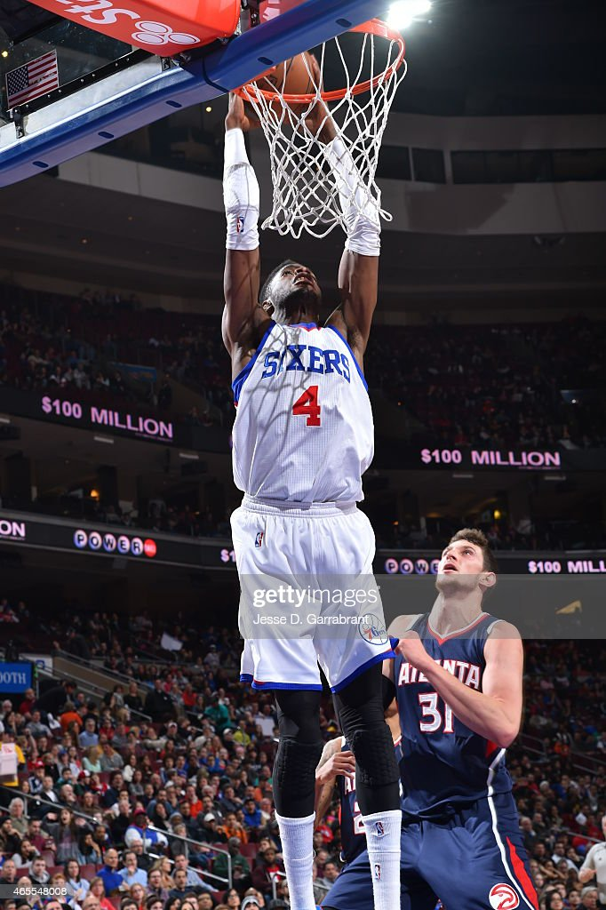 <a gi-track='captionPersonalityLinkClicked' href=/galleries/search?phrase=Nerlens+Noel&family=editorial&specificpeople=7880842 ng-click='$event.stopPropagation()'>Nerlens Noel</a> #4 of the Philadelphia 76ers dunks the ball against the Atlanta Hawks at Wells Fargo Center on March 7, 2015 in Philadelphia, Pennsylvania