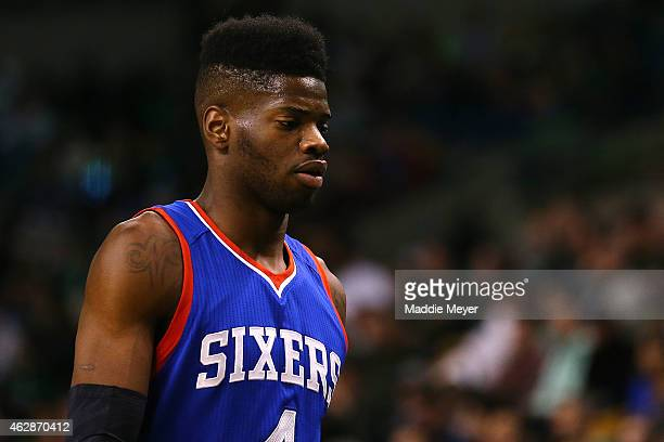 Nerlens Noel of the Philadelphia 76ers enters the huddle during a timeout during the second quarter against the Boston Celtics at TD Garden on...