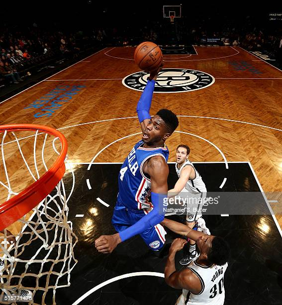 Nerlens Noel of the Philadelphia 76ers goes up for a dunk against the Brooklyn Nets on March 15 2016 at Barclays Center in Brooklyn New York NOTE TO...