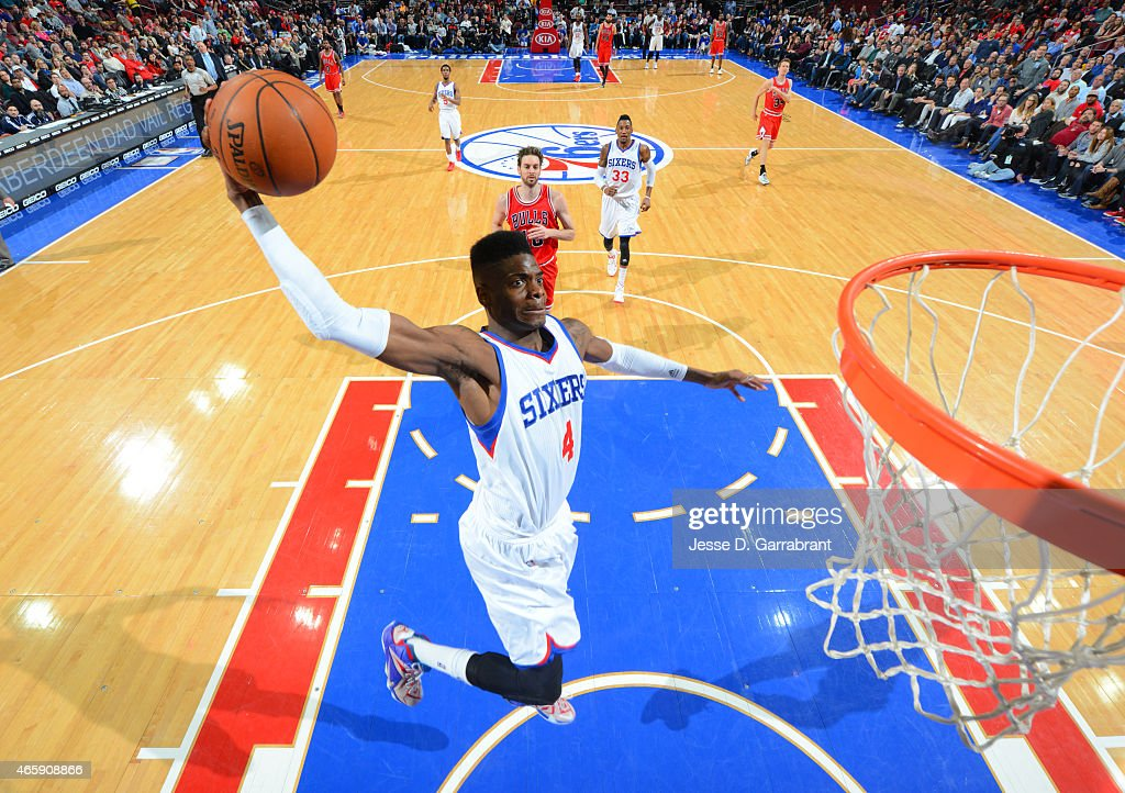 <a gi-track='captionPersonalityLinkClicked' href=/galleries/search?phrase=Nerlens+Noel&family=editorial&specificpeople=7880842 ng-click='$event.stopPropagation()'>Nerlens Noel</a> #4 of the Philadelphia 76ers goes up for the dunk against the Chicago Bulls at Wells Fargo Center on March 11, 2015 in Philadelphia, Pennsylvania