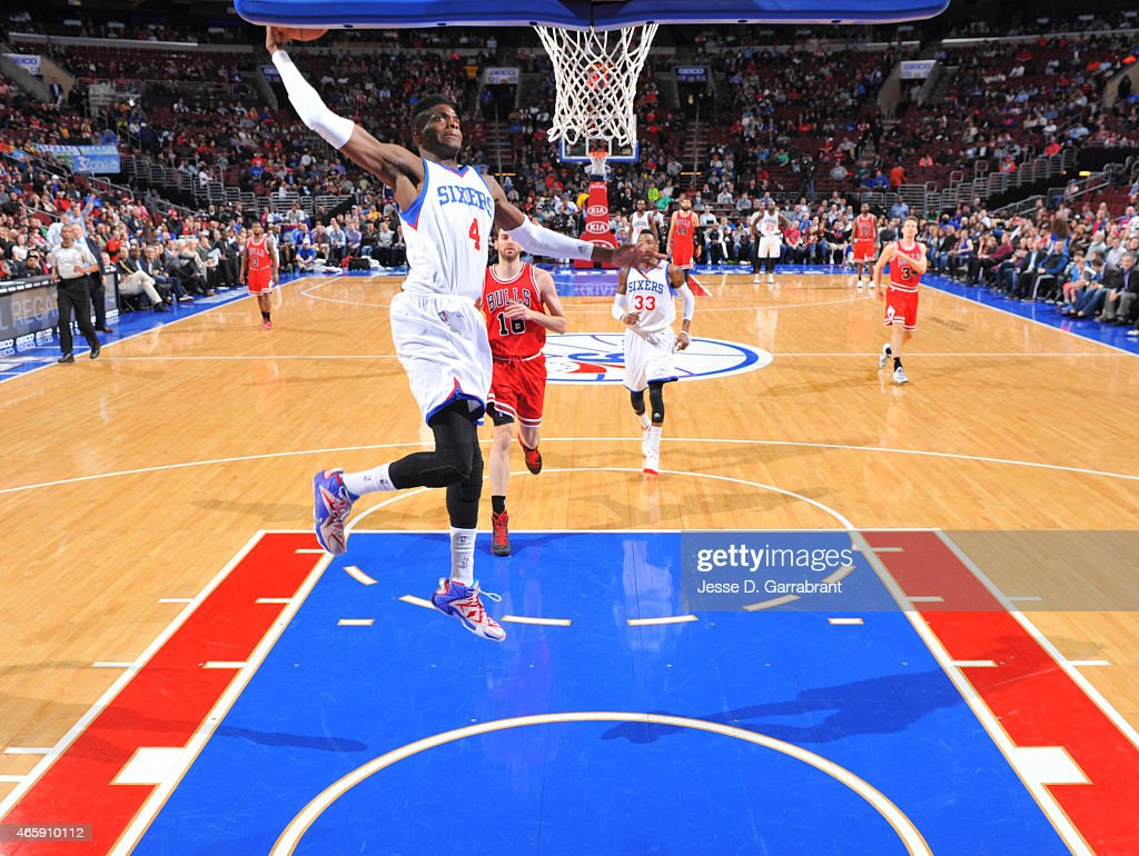 Nerlens Noel #4 of the Philadelphia 76ers goes up for the dunk against the Chicago Bulls at Wells Fargo Center on March 11, 2015 in Philadelphia, Pennsylvania